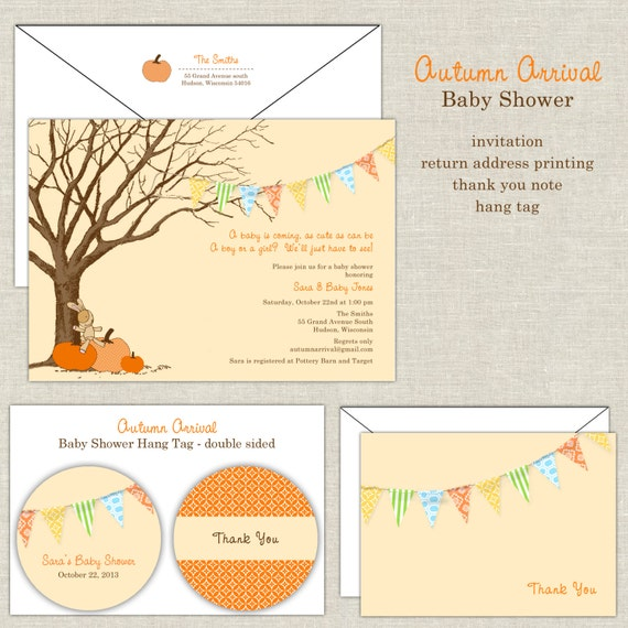 Autumn arrival baby shower invitation in yellow orange like this item filmwisefo Image collections