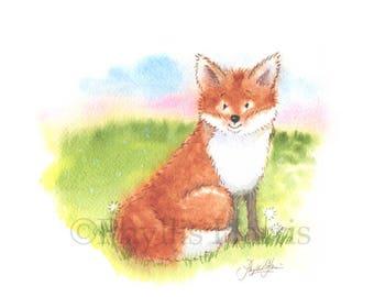 Fox art print - Fox themed nursery decor