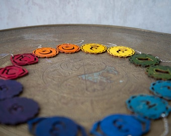 All 7 Pairs  Chakra Earrings - Crown, 3rd eye, throat, heart, power center, sex center , Root Chakra Yoga Earrings - New Age