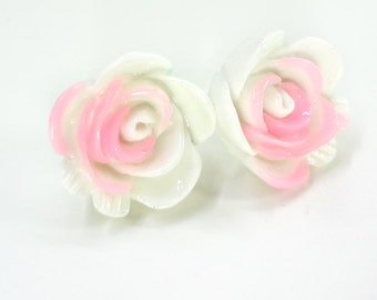 Light Pink and White Rose Earring Posts