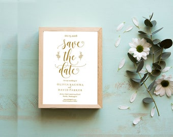 Gold | Save the Date Template | Save the Date Cards | Save the Date Printable | Wedding Template | PDF Instant Download