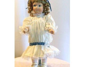 SALE - Long Face Jumeau Reproduction Meg Doll - 17""
