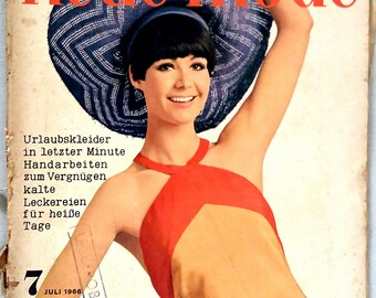 July 1966 - Neue Mode. VINTAGE GERMAN magazine with pattern sheets
