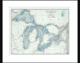 Great Lakes Map - Map  Art - Lake Superior, Lake Michigan, Lake Huron, Lake Erie