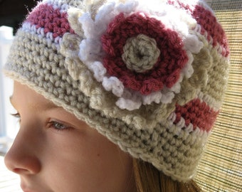 Botanical Stripe Classic Style Hat w/ Large Flower Blossom, 5 sizes included, Newborn - Adult, Crochet Pattern Pdf., Instant Download