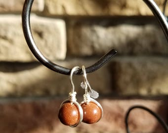 Sandstone Bead Drop Earrings. Silver Plate Fish Hook.