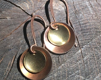 vintage double disk earring