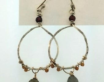 Sterling hammered hoop earrings with labradorite, topaz and garnet