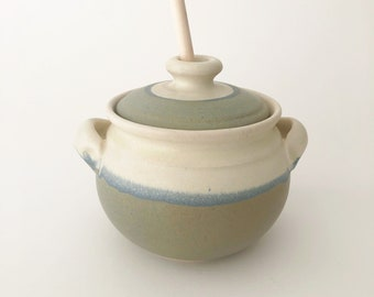 Hand Crafted Ceramic Honey Jar with Wooden Dipper