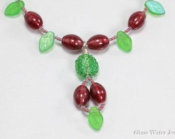 Green & Raspberry Glass Bead Necklace