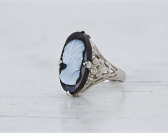 Vintage Black Onyx Ring, Unique Cameo Rings, 14k White Gold Filigree Ring, Gemstone Ring, Dainty Floral Jewelry Gifts for Her, Size 5
