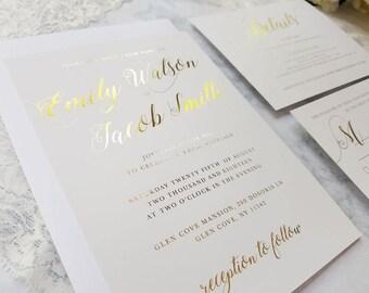 50-300 Gold foil wedding invitation set, gold foil details card, gold foil wedding invite, gold foil RSVP, simple elegant gold invitation