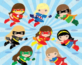 Girls SuperHero clip art, super hero girl clipart, Flying superheroes