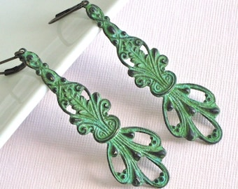 Art Nouveau Drop Earrings - Verdigris Patina, Brass, Long, Dangle