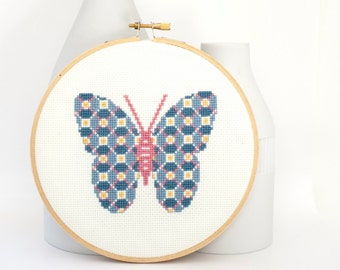 Cross stitch pattern PDF - Patterned butterfly in blue, pink, and yellow