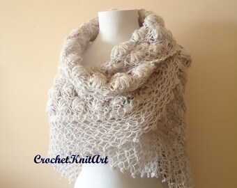 Crochet Bridal Shawl,  Gray Crochet Shawl, Bridal Triangle Shawl, Winter Wedding, Bridal Accessories, Crochet Gray Lila Shawl, Bridal Wrap