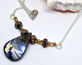 Abalone Shell Necklace, Paua Shell Jewelry, faux abalone shell necklace, teardrop necklace, gift for her, girlfriend gift, beach gift