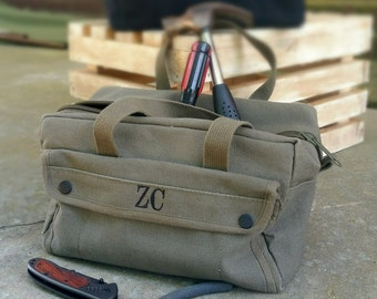 Groomsmen Personalized Military Style Mechanic Canvas Tool Bag Kit Ammo Bag Groomsman ~Father's Day Gift~Anniversary