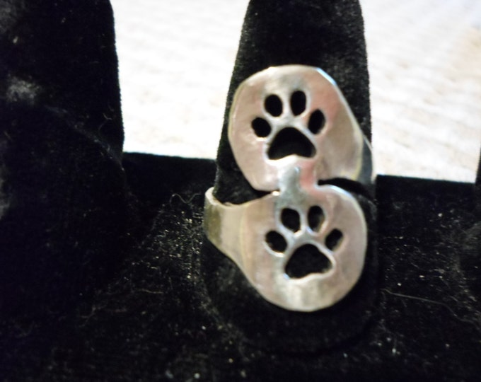 2 dog paw spoon style ring