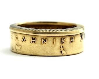 coin ring/ Münzring 2 Drachmai (Greece/Griechenland) size/ Größe (US) 5 - 9 1/2