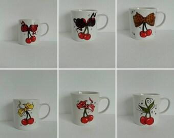 SALE Cherries Designs (choose yours) handpainted on a nice white ceramic mug