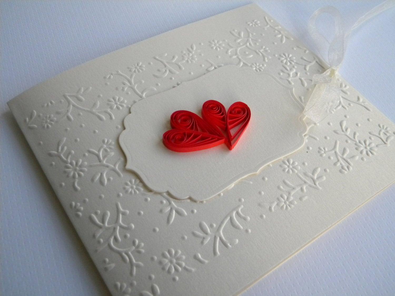 Heart wedding invitation / Red wedding invitation / Quilling