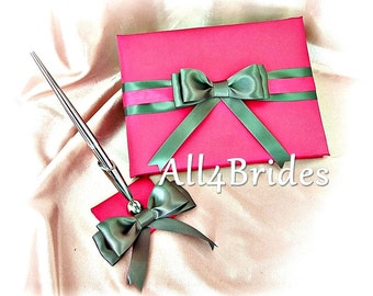 Wedding Guest Book and pen set Fuchsia Pink and Grey, wedding accessories decor
