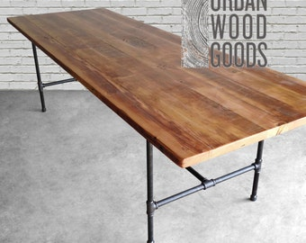 Wood Dining Room Table With Reclaimed Top And Iron Pipe Legs In Choice Of Sizes