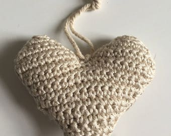 Beige crochet heart decoration