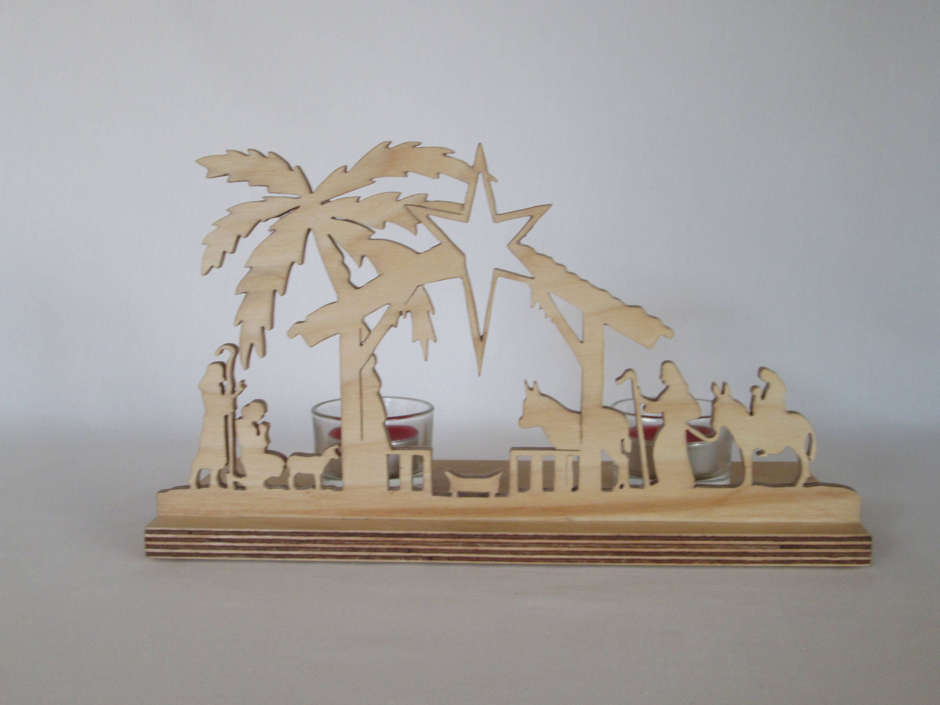 Nativity tealight stand scroll saw cut includes