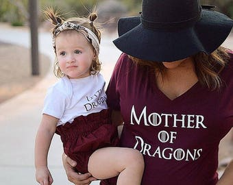 Mommy-and-Me Game of Thrones Set, Mother of Dragons and Little Dragon T-Shirt Set