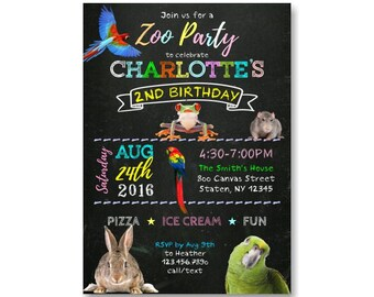 Zoo Birthday Invitation, Safari Birthday Invitation, Jungle Birthday Invitation, Zoo Birthday, Jungle CUSTOM Animals, Chalkboard Invites 405