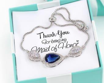 Wedding Bracelet Platinum plated Navy Zirconia Bracelet Wedding Bracelet Wedding Jewelry Bridal Bracelet Something blue Bridesmaid Gift