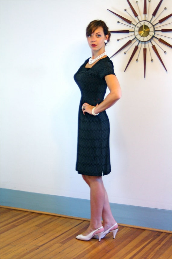 Black eyelet dress, black pencil dress, Vintage 60s dress, 50s Wiggle Dress, Sexy Fitted dress, 50s Bombshell dress, 1960s wiggle dress, M