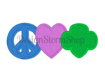 Scout Applique Trefoil Design/Girl/Peace Love Girl Scouts/Machine Embroidery/Instant Download File/5x7