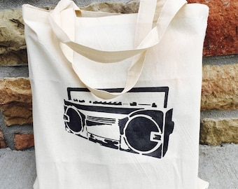 Boombox Tote Bag, Stereo Tote, Old School Bag, Farmer's Market Bag, Washable Bag, Cotton Shopping Bag, Reusable Grocery Bag, Stereo Tote Bag