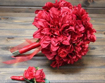 Red Bridal Bouquet, red bouquet, wedding bouquet red, all red wedding bouquet, hydrangea bouquet red, red rose, red wedding bouquet