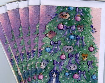 6 x cat Christmas holiday cards season's greetings xmas tree decoratons baubles sparkle tabby Siamese from Susan Alison watercolor painting