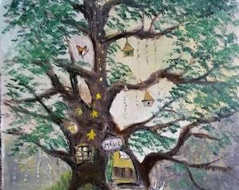 Little fairy house, OIL PAINTING on panel