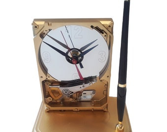 Pen Holder Hard Drive Clock. Cool Office Gift Clock, Teacher Gift Clock, Business Award Clock. Desk Set. Unique Clock. Gold Enamel Finish.