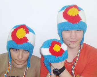 Knit Colorado Flag Hats - Hand knit winter with earflap Colorado Family hats handknit with ear flap hat - Colorado gifts for family