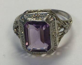 Vintage Art Deco 10k White Gold Ostby Barton Amethyst Filigree Ring