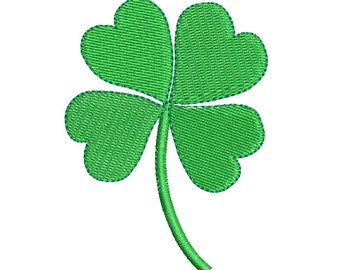 Four Leaf Clover Machine Embroidery Design, Fill Stitch, St Patrick's Day, 4 Leaf Clover Embroidery, 2 Sizes, Instant Download, No: SA532-4