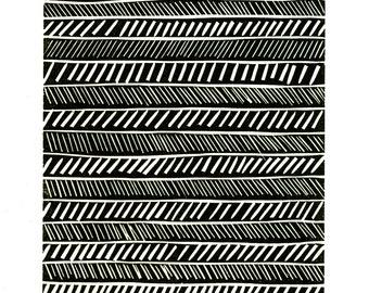 Black & White Abstract Linocut and Letterpress Print-Vertical Jump Training Program