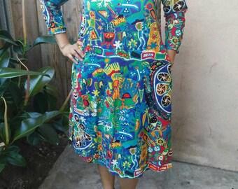 Tribal bird print dress. Size L