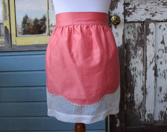 Reversible Pink and White Sateen Hostess Apron, Vintage Half Apron Two-Sided Classic Serving Apron, 50s Fancy Apron, Apron Costume, Pockets