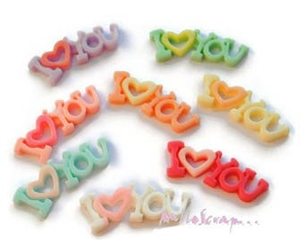 "Set of 8 ""I love You"" multicolored resin scrapbooking card making *."