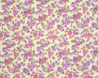 "Destash Purple Floral Fabric, 2 Pieces 35"" each, Purple Floral Cotton Fabric, Floral Cotton Purple, Cotton Fabric Purple Flowers"