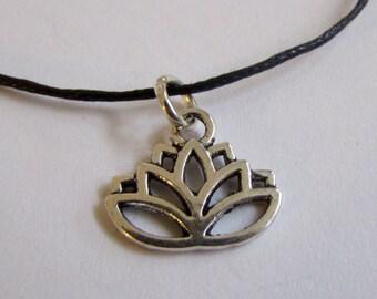 Lotus Charm On Wax Cord Yoga Jewellery Adjustable Unisex Free UK Shipping + Gift Bag