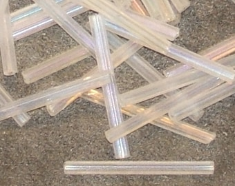 Crystal Rainbow Vintage glass Bugle beads 25mm tubes Czech (40)
